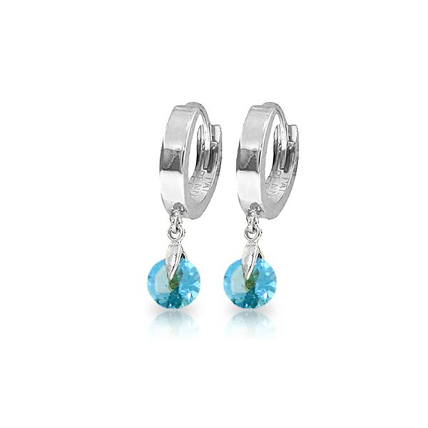 Genuine 2 ctw Blue Topaz Earrings 14KT White Gold - REF-25W9Y