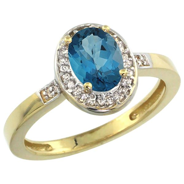 1.15 CTW London Blue Topaz & Diamond Ring 14K Yellow Gold - REF-38V3R