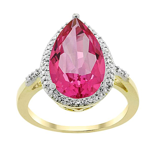 5.55 CTW Pink Topaz & Diamond Ring 10K Yellow Gold - REF-34W8F