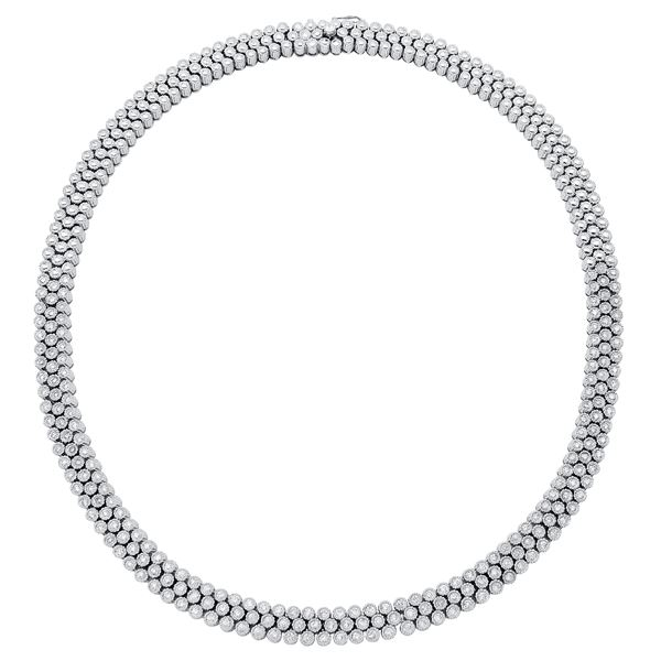 Natural 3.85 CTW Diamond Necklace 18K White Gold - REF-1205K3R