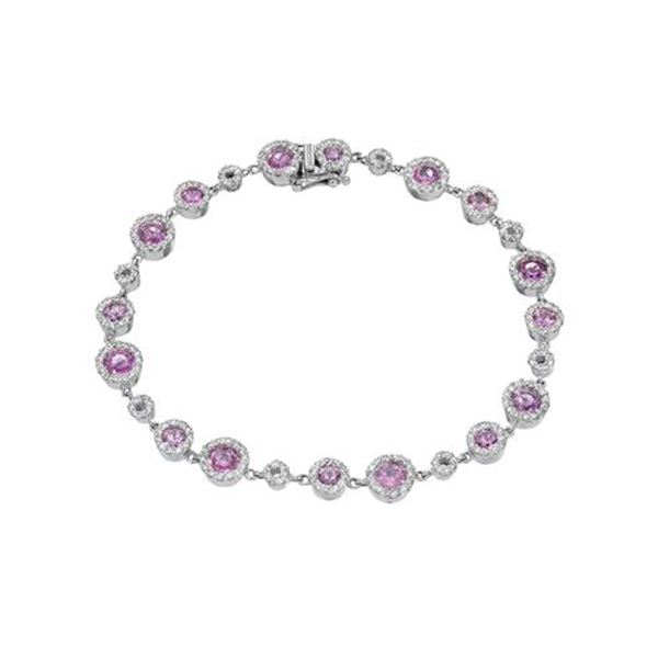 Natural 5.14 CTW Pink Sapphire & Diamond Bracelet 14K White Gold - REF-227K7R