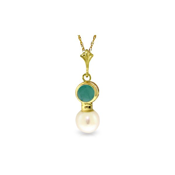 Genuine 2.48 ctw Emerald & Pearl Necklace 14KT Yellow Gold - REF-20A4K