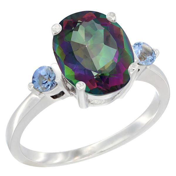 2.64 CTW Mystic Topaz & Blue Sapphire Ring 14K White Gold - REF-32H3M