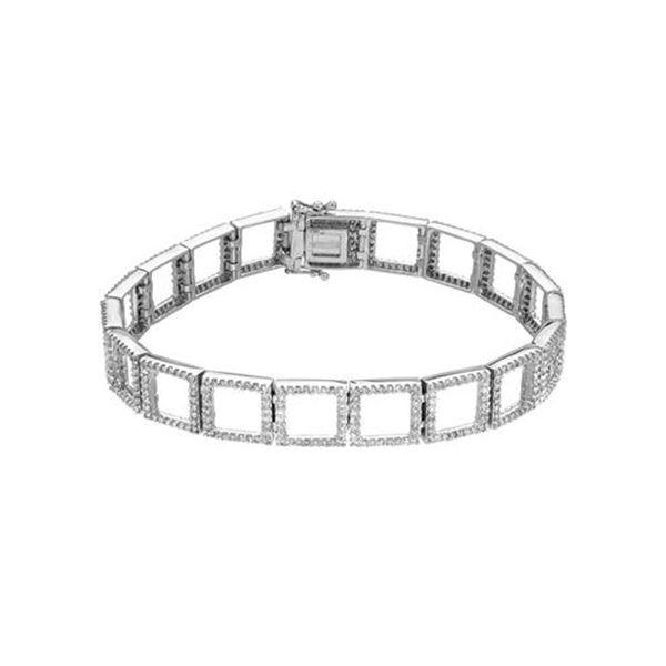 Natural 2.92 CTW Diamond & Bracelet 18K White Gold - REF-438F3M