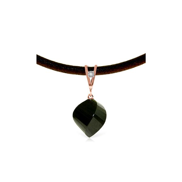 Genuine 15.51 ctw Black Spinel & Diamond Necklace 14KT Rose Gold - REF-39H2X