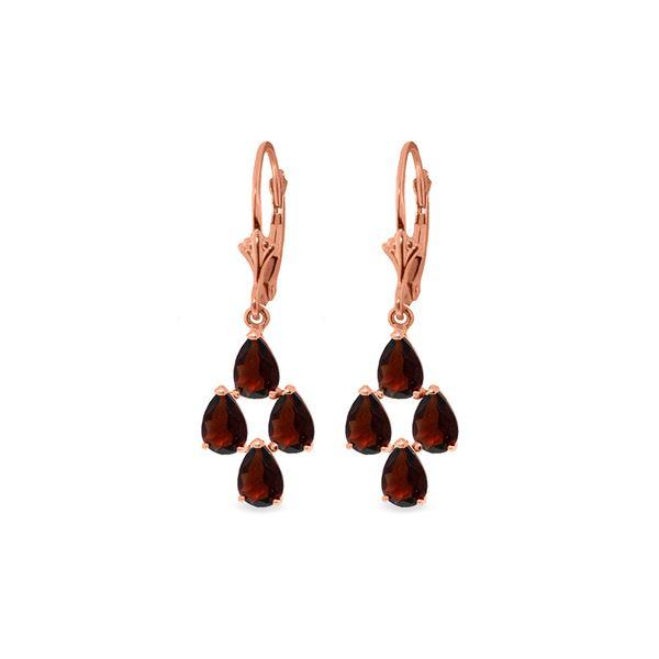 Genuine 4.5 ctw Garnet Earrings 14KT Rose Gold - REF-41K2V