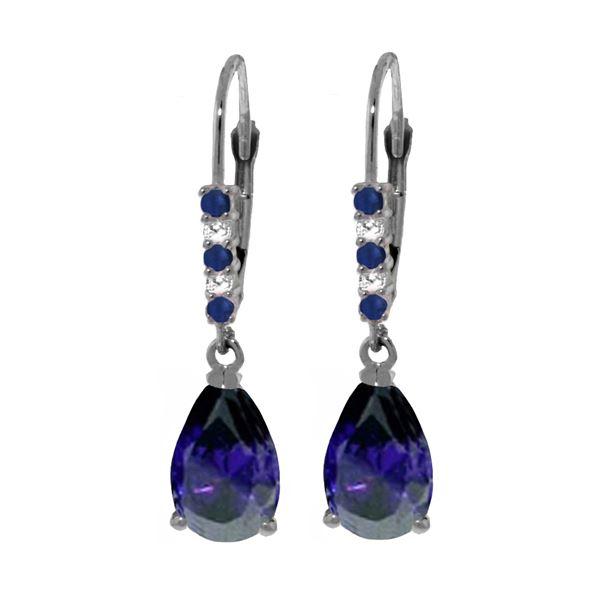 Genuine 3.18 ctw Sapphire & Diamond Earrings 14KT White Gold - REF-47T2A