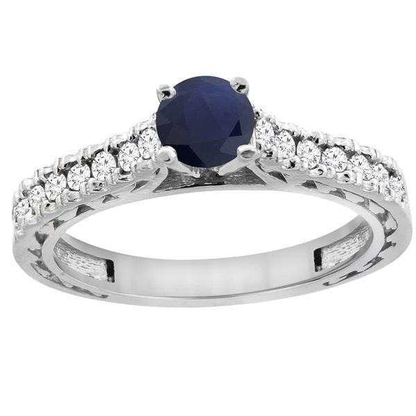 0.90 CTW Blue Sapphire & Diamond Ring 14K White Gold - REF-72N9Y
