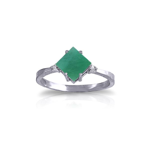 Genuine 1.46 ctw Emerald & Diamond Ring 14KT White Gold - REF-39M9T
