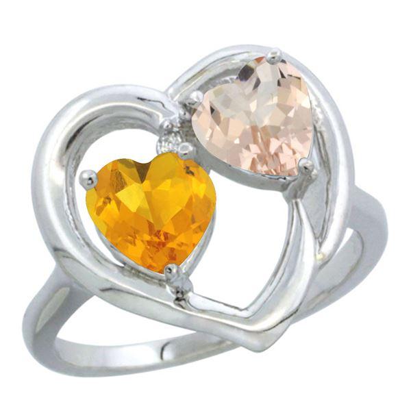 1.91 CTW Diamond, Citrine & Morganite Ring 14K White Gold - REF-36R6H