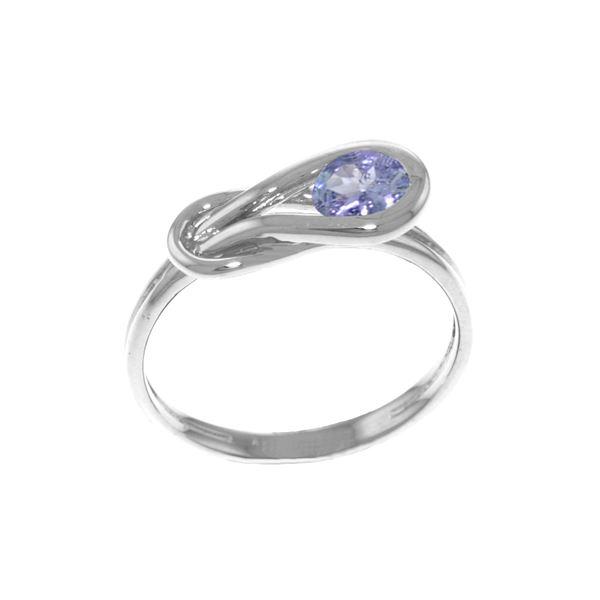 Genuine 0.65 ctw Tanzanite Ring 14KT White Gold - REF-52Z7N