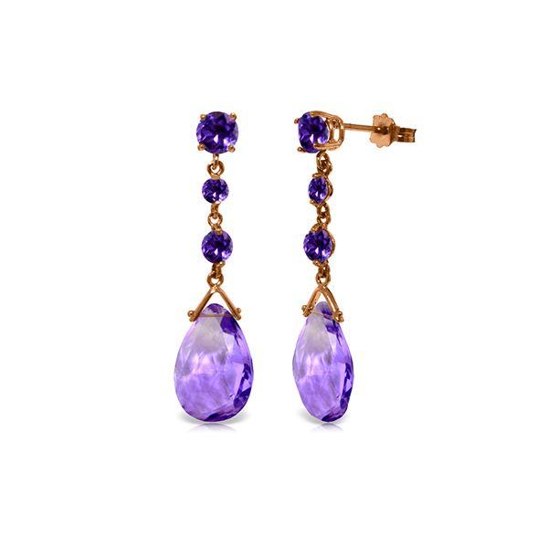 Genuine 13.2 ctw Amethyst Earrings 14KT Rose Gold - REF-39Y3F