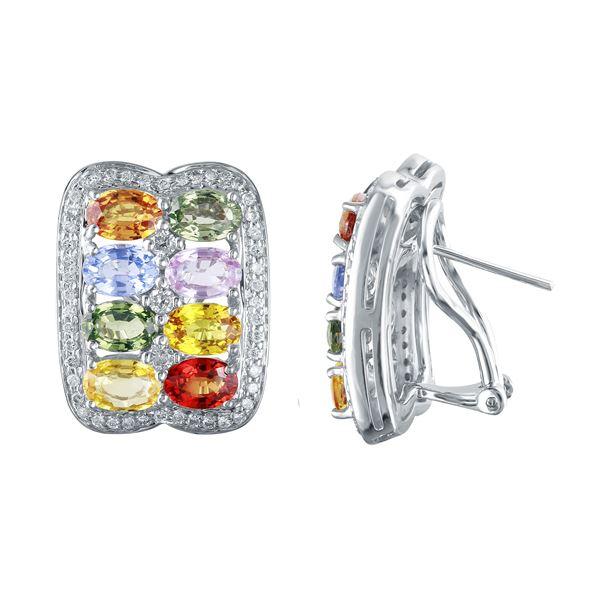 Natural 10.44 CTW Multi-Sapphire & Diamond Earrings 14K Gold - REF-208K8R