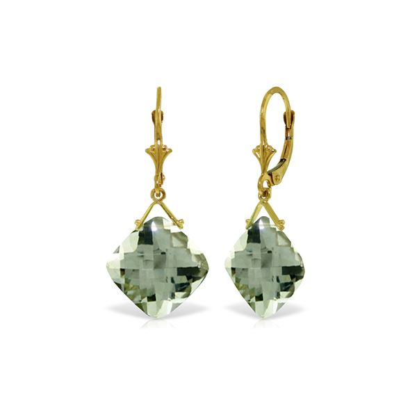 Genuine 17.5 ctw Green Amethyst Earrings 14KT Yellow Gold - REF-39A3K