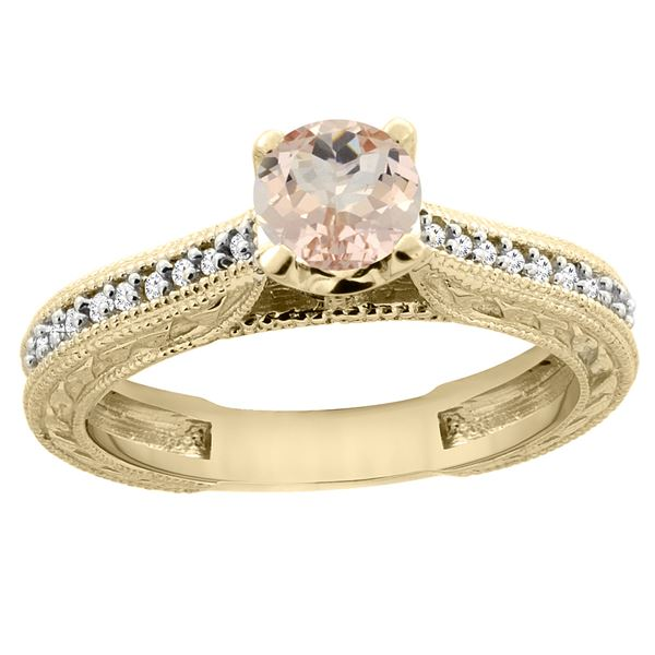 0.59 CTW Morganite & Diamond Ring 14K Yellow Gold - REF-54R7H