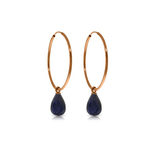 Genuine 6.6 ctw Sapphire Earrings 14KT Rose Gold - REF-26K7V