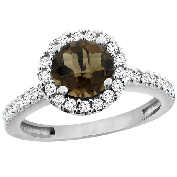 1.38 CTW Quartz & Diamond Ring 14K White Gold - REF-60H8M