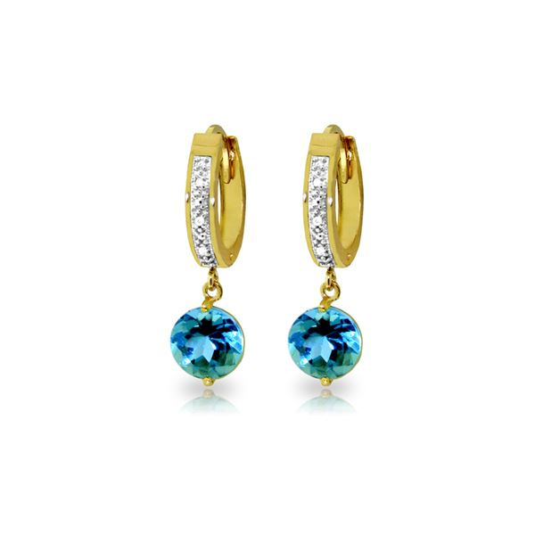 Genuine 3.28 ctw Blue Topaz & Diamond Earrings 14KT Yellow Gold - REF-55N3R