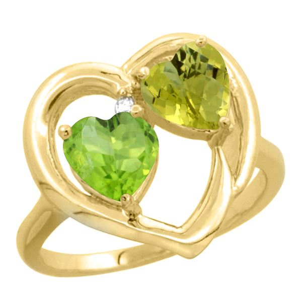 2.61 CTW Diamond, Peridot & Lemon Quartz Ring 14K Yellow Gold - REF-33M5A