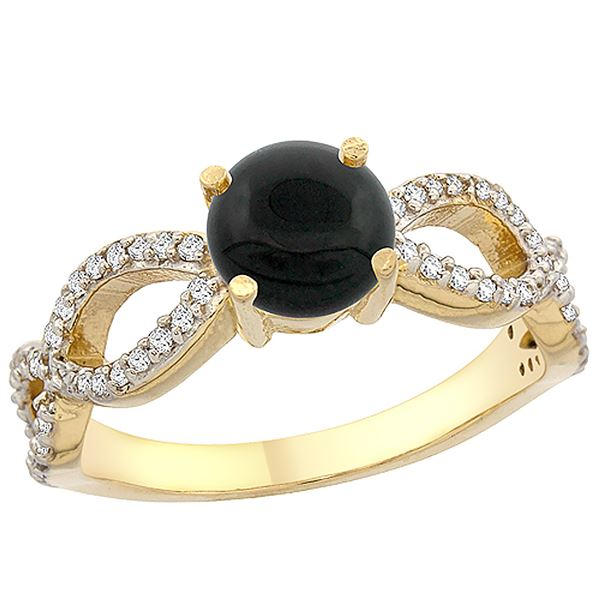 0.89 CTW Onyx & Diamond Ring 14K Yellow Gold - REF-49W2F