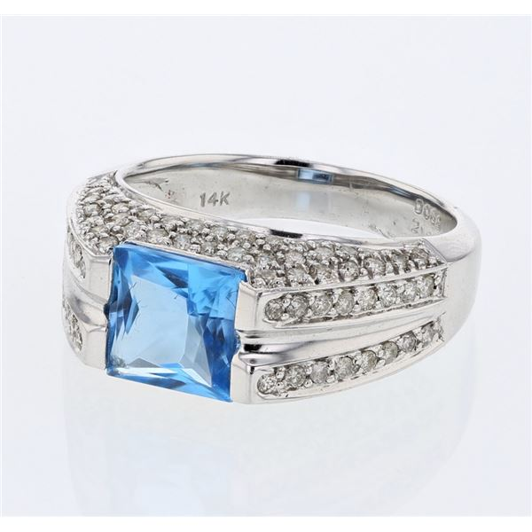 Natural 2.84 CTW Topaz & Diamond Ring 14K White Gold - REF-82T8X