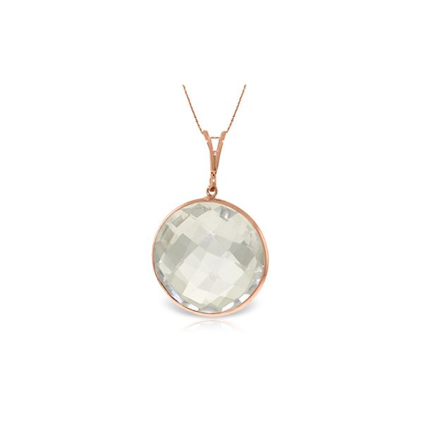 Genuine 18 ctw White Topaz Necklace 14KT Rose Gold - REF-39Y8F