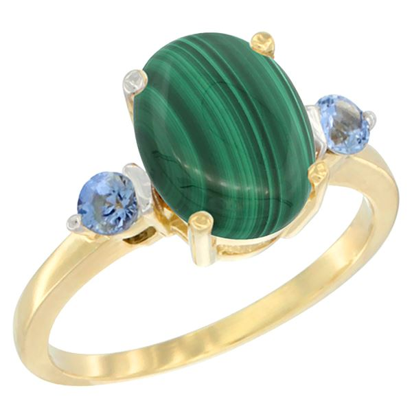 2.99 CTW Malachite & Blue Sapphire Ring 14K Yellow Gold - REF-30N3Y
