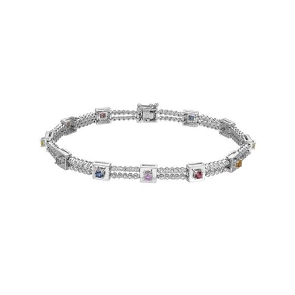 Natural 2.85 CTW Multi-Sapphire & Diamond Bracelet 14K White Gold - REF-178T2X