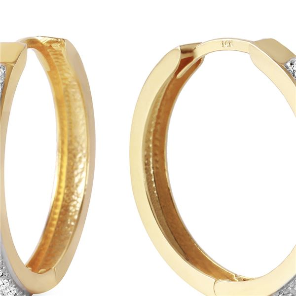 Genuine 0.28 ctw Diamond Anniversary Earrings 14KT Yellow Gold - REF-109Y6F