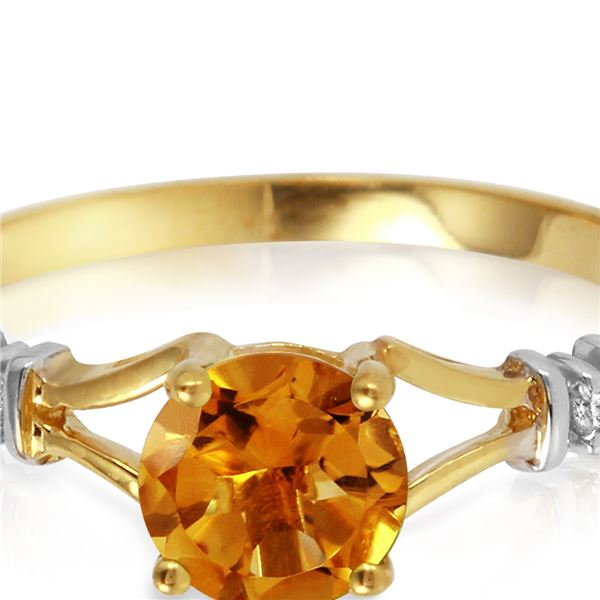 Genuine 1.02 ctw Citrine & Diamond Ring 14KT Yellow Gold - REF-28X3M