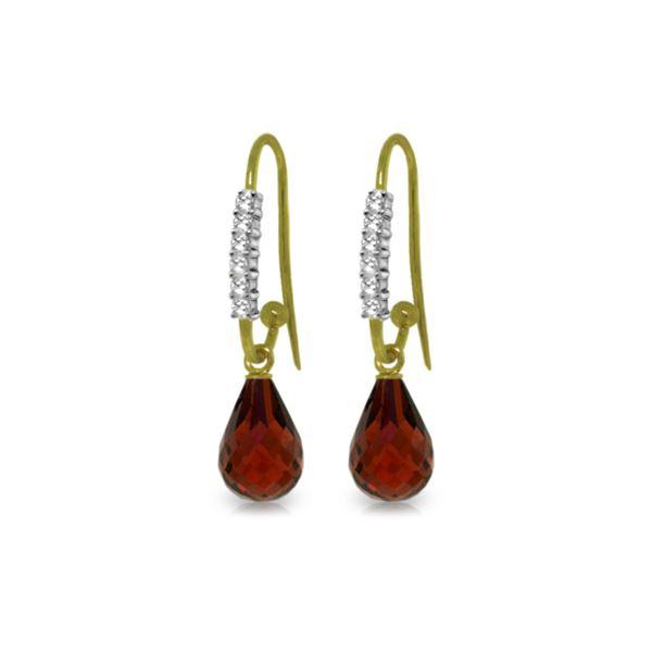 Genuine 4.68 ctw Garnet & Diamond Earrings 14KT Yellow Gold - REF-40Z7N