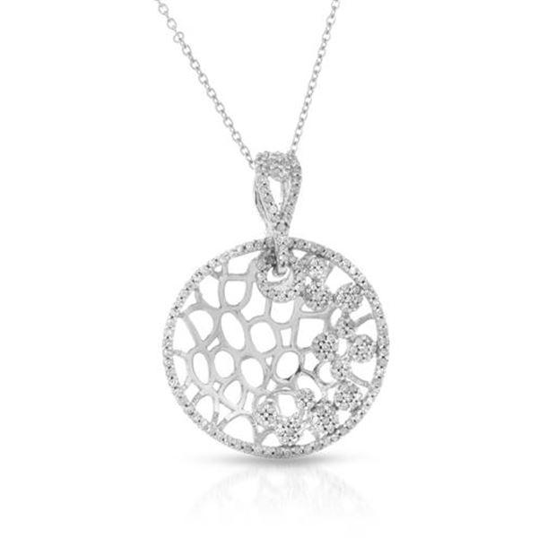 Natural 0.61 CTW Diamond Necklace 14K White Gold - REF-63K2R