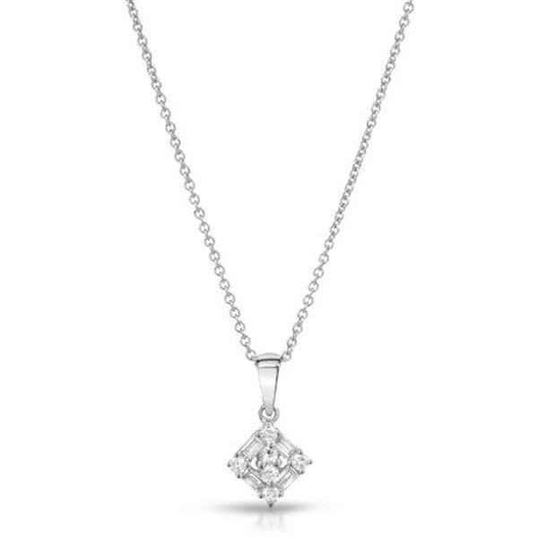 Natural 0.29 CTW Baguette & Diamond Necklace 18K White Gold - REF-43T2X