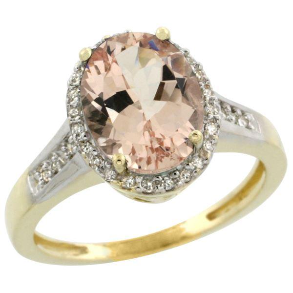 2.60 CTW Morganite & Diamond Ring 14K Yellow Gold - REF-66A2X
