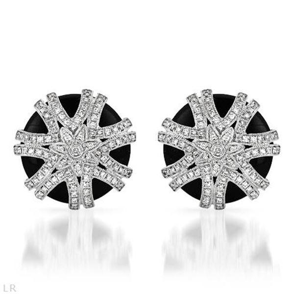 Natural 15.05 CTW Onyx & Diamond Earrings 14K White Gold - REF-114F3M