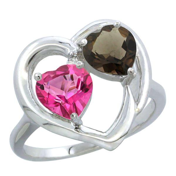 2.61 CTW Diamond, Pink Topaz & Quartz Ring 14K White Gold - REF-33F9N