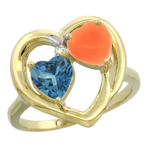 1.31 CTW London Blue Topaz & Diamond Ring 14K Yellow Gold - REF-33F8N