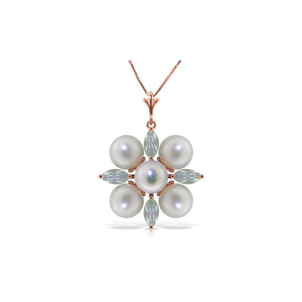 Genuine 6.3 ctw Aquamarine & Pearl Necklace 14KT Rose Gold - REF-60P4H