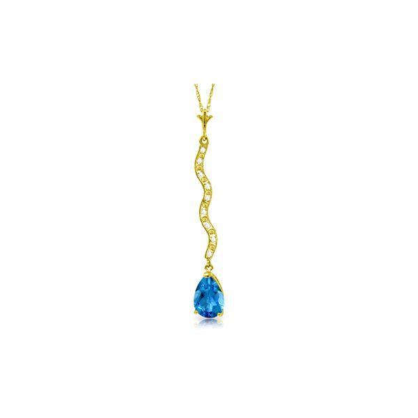 Genuine 1.79 ctw Blue Topaz & Diamond Necklace 14KT Yellow Gold - REF-34R6P