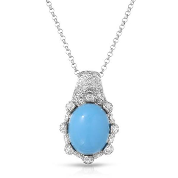 Natural 9.55 CTW Turquoise & Diamond Necklace 14K White Gold - REF-129K6R