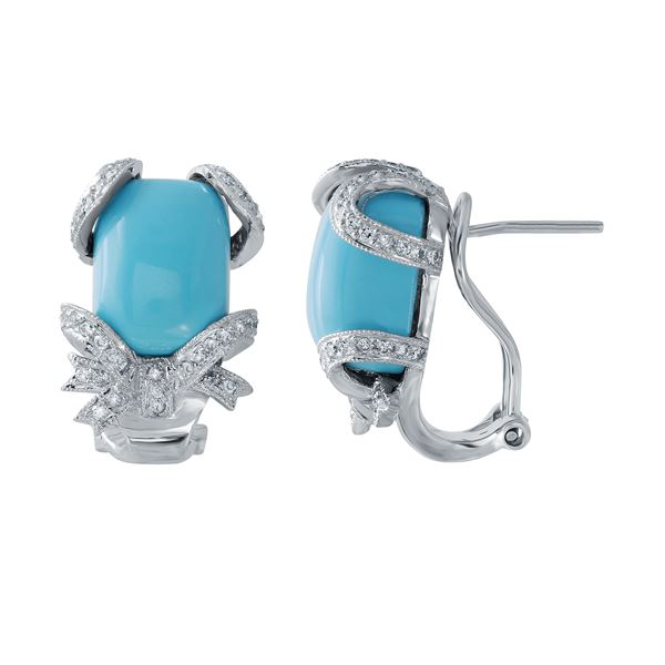Natural 12.26 CTW Turquoise & Diamond Earrings 14K White Gold - REF-101F7M