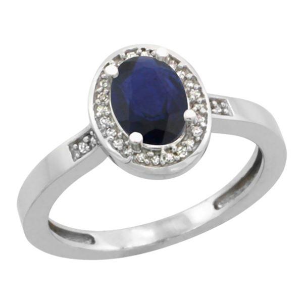 1.15 CTW Blue Sapphire & Diamond Ring 14K White Gold - REF-40M7K