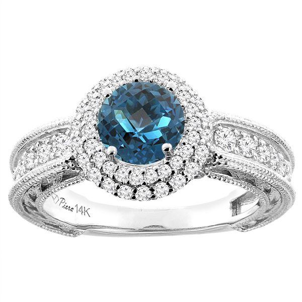 1.50 CTW London Blue Topaz & Diamond Ring 14K White Gold - REF-92N2Y