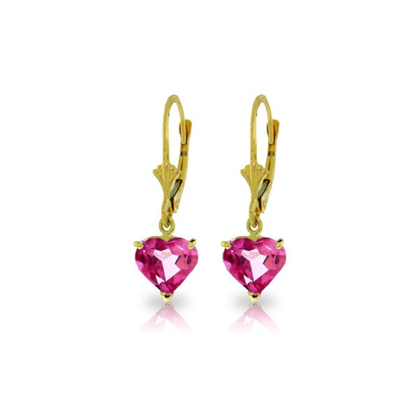 Genuine 3.25 ctw Pink Topaz Earrings 14KT Yellow Gold - REF-29A2K
