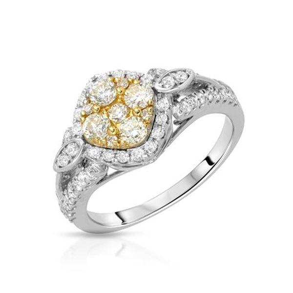 Natural 0.93 CTW Diamond & Yellow Round Diamond Ring 14K Two Tone Gold - REF-113K4R