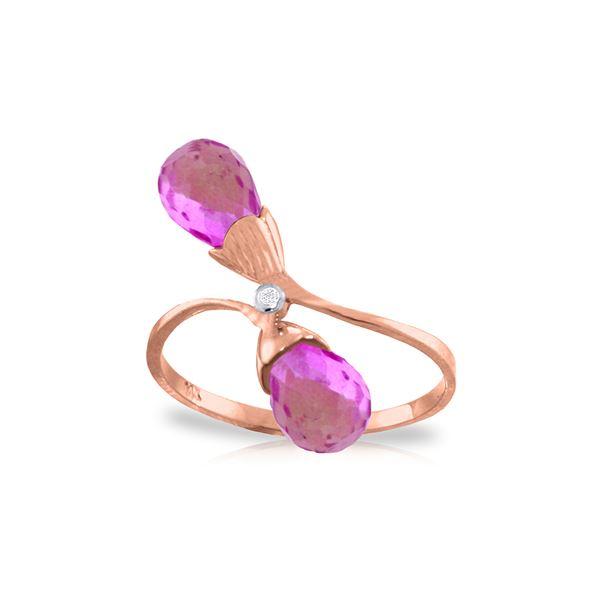 Genuine 2.52 ctw Pink Topaz & Diamond Ring 14KT Rose Gold - REF-26R6P