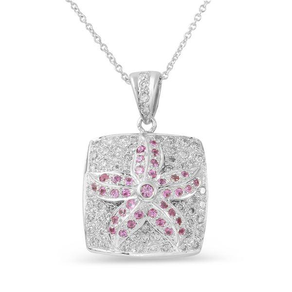 Natural 0.96 CTW Pink Sapphire & Diamond Necklace 14K White Gold - REF-100K8R