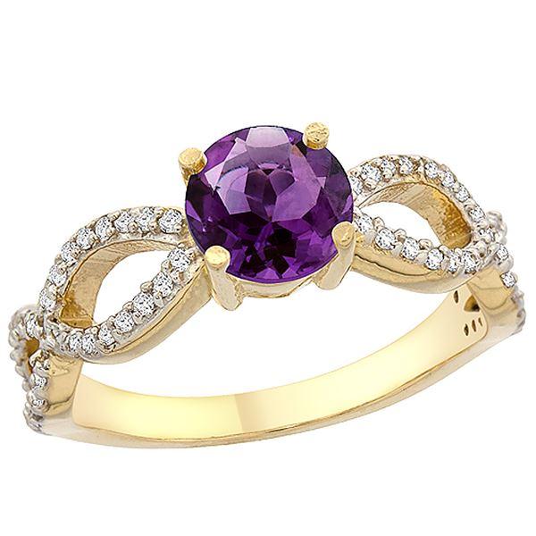 1 CTW Amethyst & Diamond Ring 14K Yellow Gold - REF-49A6X