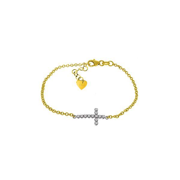 Genuine 0.18 ctw Diamond Anniversary Bracelet 14KT Yellow Gold - REF-61V8W