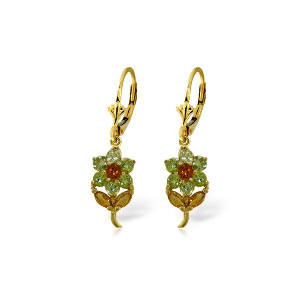 Genuine 2.12 ctw Citrine & Peridot Earrings 14KT Yellow Gold - REF-42R4P